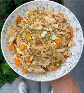 healthy fried rice made with frozen foods